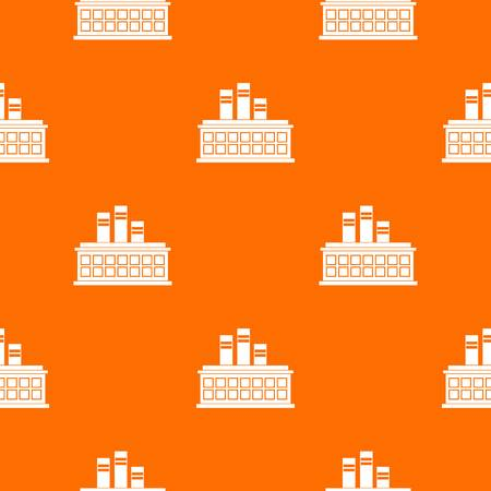 Oil refinery plant pattern repeat seamless in orange color for any design. Vector geometric illustration Illustration
