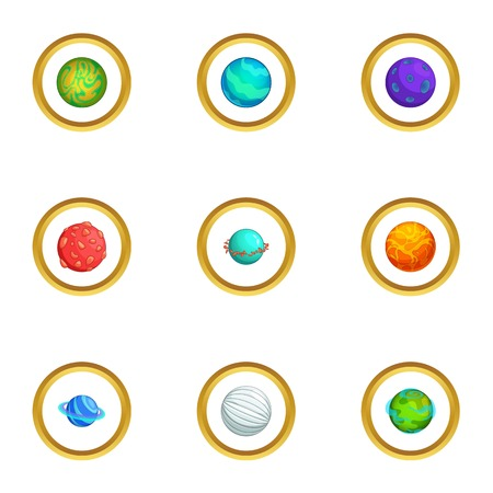 fire and ice: Mystery planet icons set. Cartoon style set of 9 mystery planet vector icons for web design Illustration