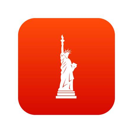 Statue of liberty icon digital red for any design isolated on white vector illustration