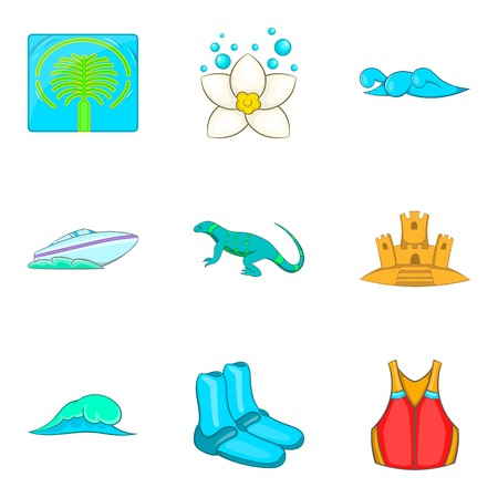 Seawater icons set, cartoon style