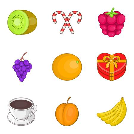Fruit supplement icons set. Cartoon set of 9 fruit supplement vector icons for web isolated on white background