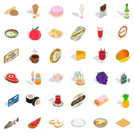 Sushi icons set. Isometric style of 36 sushi vector icons for web isolated on white background