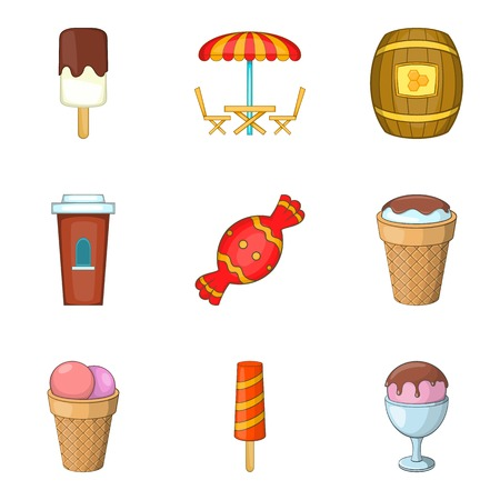 Sugar-candy icons set. Cartoon set of 9 sugar-candy vector icons for web isolated on white background