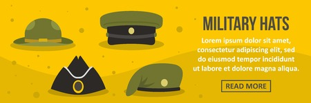 Military hats banner horizontal concept