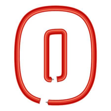 Number zero plastic tube icon. Cartoon illustration of number zero plastic tube vector icon for web