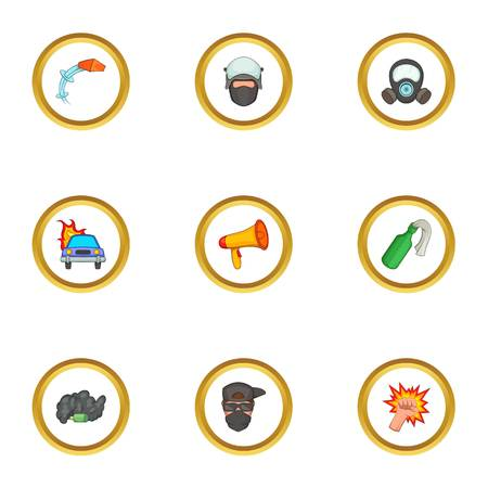 Riot icons set. Cartoon style set of 9 riot vector icons for web design Illustration