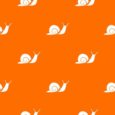 Snail pattern repeat seamless in orange color for any design. Vector geometric illustration