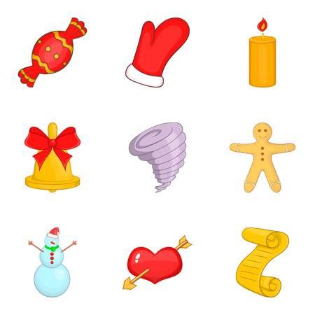 Set di icone di Natale. Un insieme del fumetto di 9 icone di vettore di Natale per il web isolato su fondo bianco
