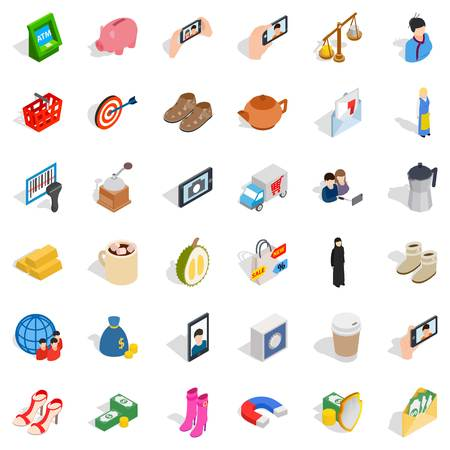computer operator: Money bag icons set. Isometric style of 36 money bag vector icons for web isolated on white background