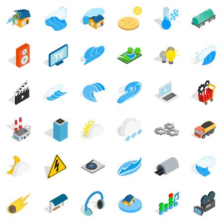 Power icons set. Isometric style of 36 power vector icons for web isolated on white background