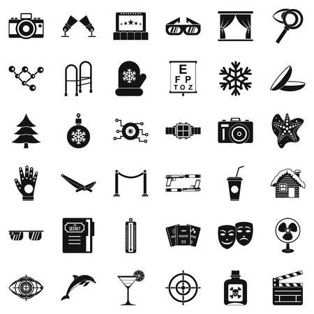 Winter icons set. Simple style of 36 winter vector icons for web isolated on white background Illustration