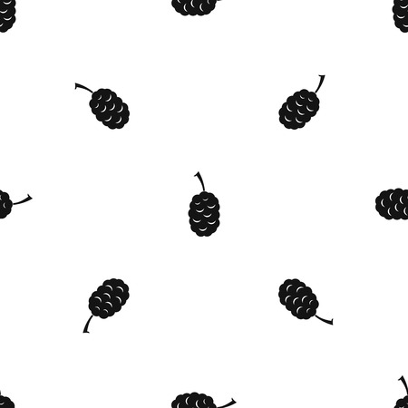 Fruit of mulberry pattern repeat seamless in black color for any design. Vector geometric illustration