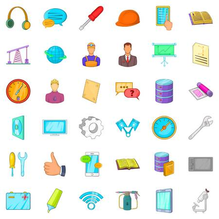 Internet icons set. Cartoon style of 36 internet vector icons for web isolated on white background