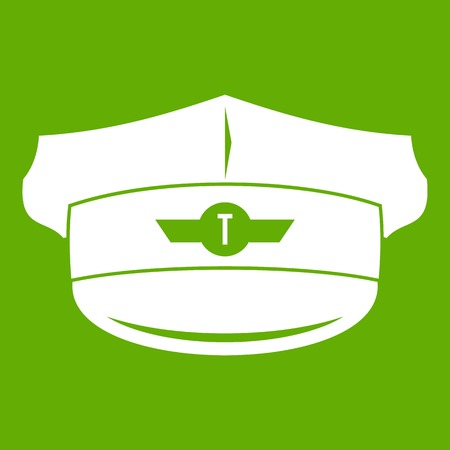 Cap taxi driver icon white isolated on green background. Vector illustration Illustration