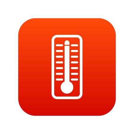 Thermometer indicates extremely high temperature icon digital red for any design isolated on white vector illustration