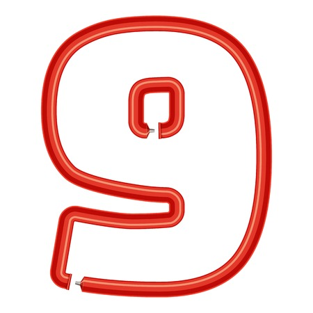 Number nine plastic tube icon. Cartoon illustration of number nine plastic tube vector icon for web