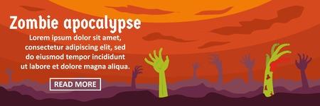 Zombie apocalypse banner horizontal concept. Flat illustration of zombie apocalypse banner horizontal vector concept for web design Illustration