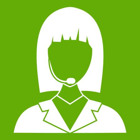Manager taxi icon white isolated on green background. Vector illustration