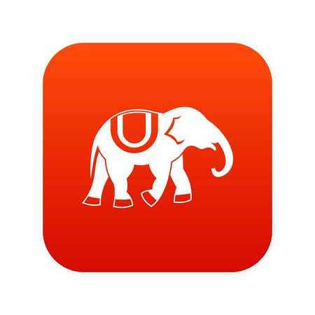 Elephant icon digital red for any design isolated on white vector illustration Иллюстрация