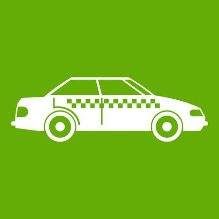 Taxi icon white isolated on green background. Vector illustration