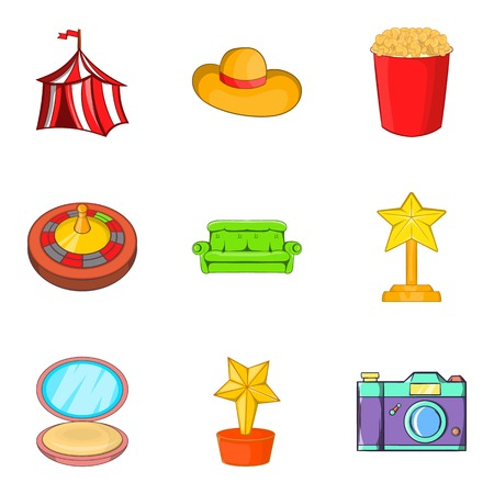 Dressing room icons set. Cartoon set of 9 dressing room vector icons for web isolated on white background Illustration