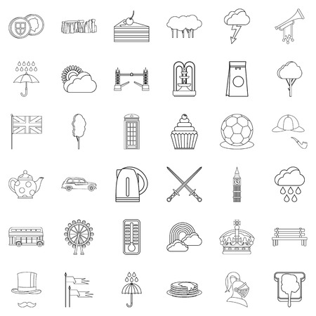 England icons set. Outline style of 36 england vector icons for web isolated on white background Illustration