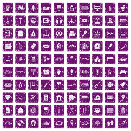 100 entertainment icons set in grunge style purple color isolated on white background vector illustration