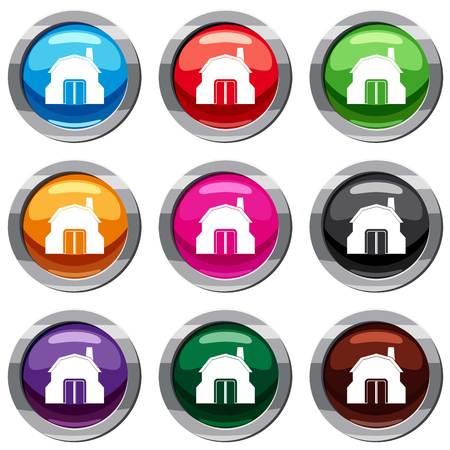 Gesetzte Ikone des Schmiedewerkstattgebäudes lokalisiert auf Weiß. Vektorillustration mit 9 Ikonen