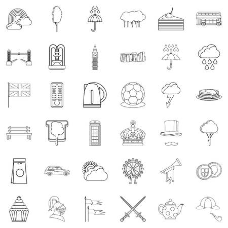 Crown icons set. Outline style of 36 crown vector icons for web isolated on white background
