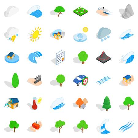 Volcano icons set. Isometric style of 36 volcano vector icons for web isolated on white background