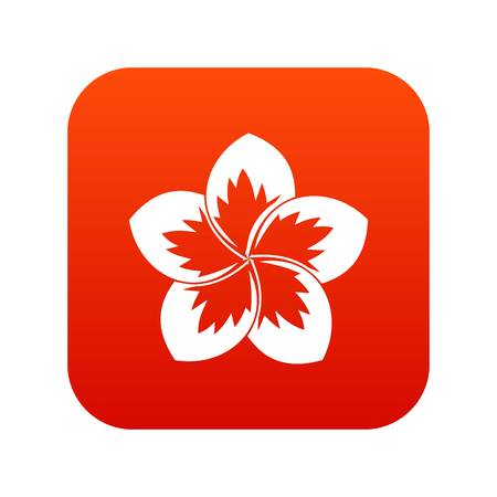 Frangipani flower icon digital red for any design isolated on white vector illustration