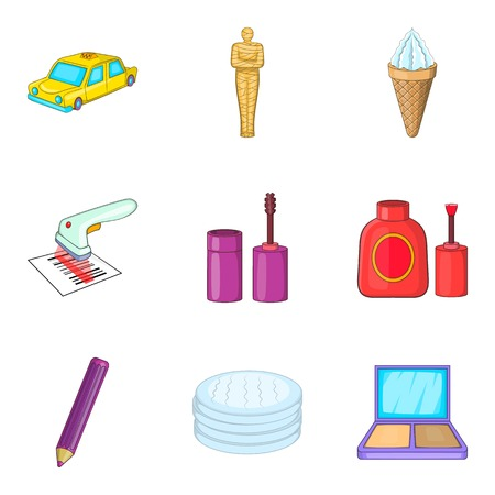 Profession makeup icons set. Cartoon set of 9 profession makeup vector icons for web isolated on white background Illustration