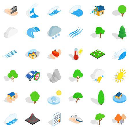 Storm icons set, isometric style