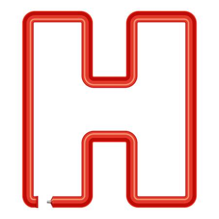 Letter h plastic tube icon, cartoon style