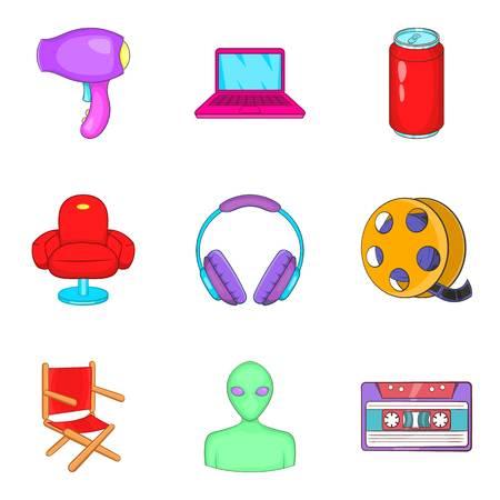 Makeup man icons set, cartoon style