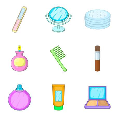Makeup technique icons set. Cartoon set of 9 makeup technique vector icons for web isolated on white background Illustration