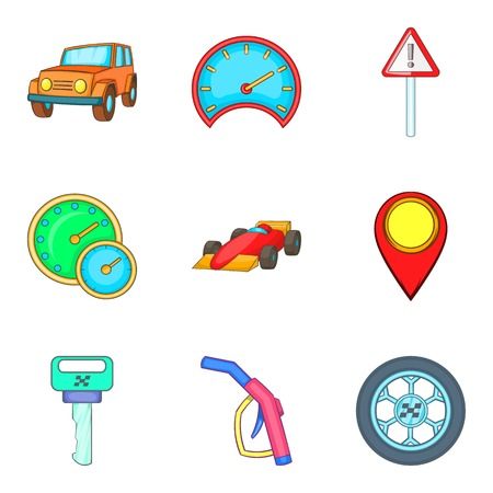 car brake: Stealing icons set, cartoon style
