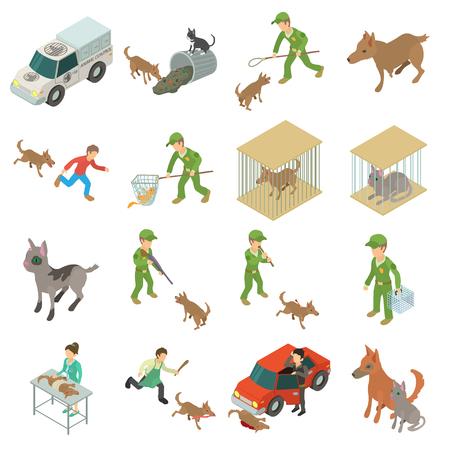 Jeu d'icônes animaux errants, style isométrique