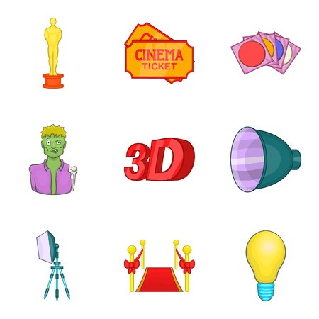 Contemporary cinema icons set. Cartoon set of 9 contemporary cinema vector icons for web isolated on white background