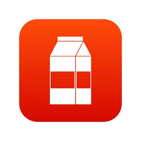 Box of milk icon digital red for any design isolated on white vector illustration