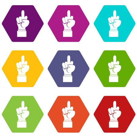 Het tekenpictogram van de middelvingerhand stelt veel die kleurenhexahedron op witte vectorillustratie wordt geïsoleerd