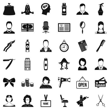 Ensemble d'icônes de salon de coiffure. Style simple de 36 icônes vectorielles de coiffeur pour web isolé sur fond blanc