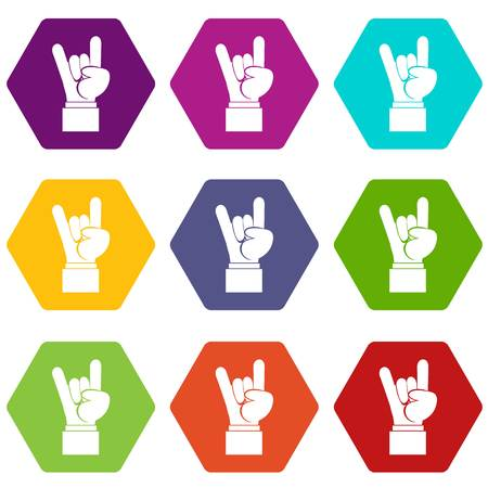 Rock and Roll hand sign icon set many color hexahedron isolated on white vector illustration Illustration