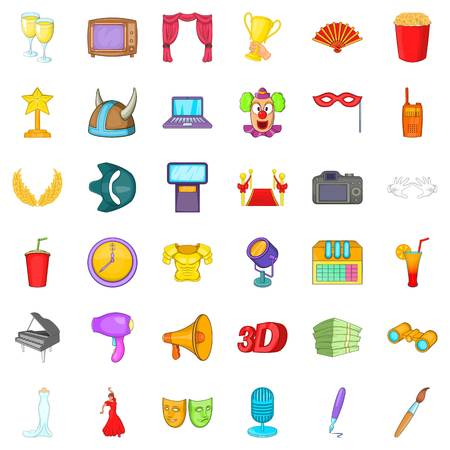 Camera cons set. Cartoon style of 36 camera vector icons for web isolated on white background