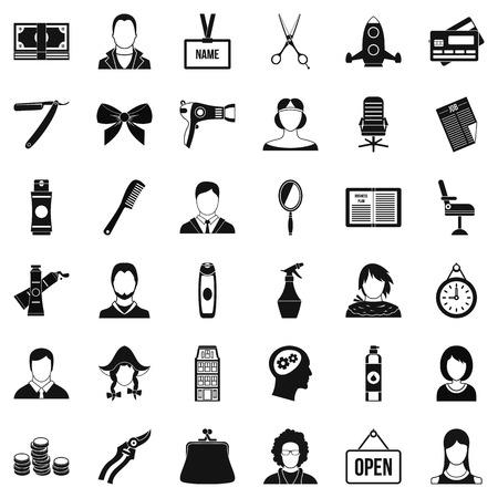 icônes de style cheveux définies . style plat des 36 icônes vectorielles de cheveux pour le web isolé sur fond blanc