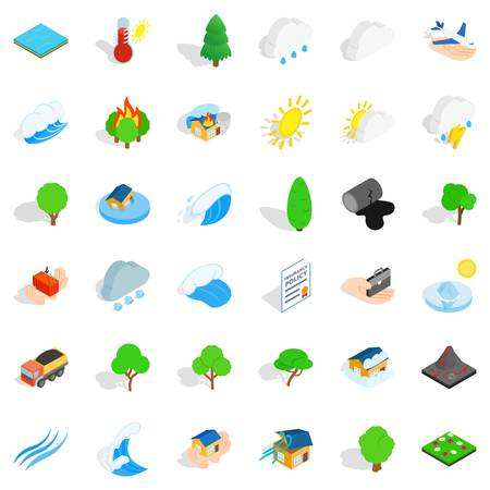 Tree icons set. Isometric style of 36 tree vector icons for web isolated on white background