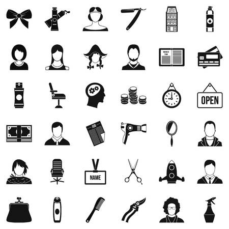 Scissors icons set. Simple style of 36 scissors vector icons for web isolated on white background