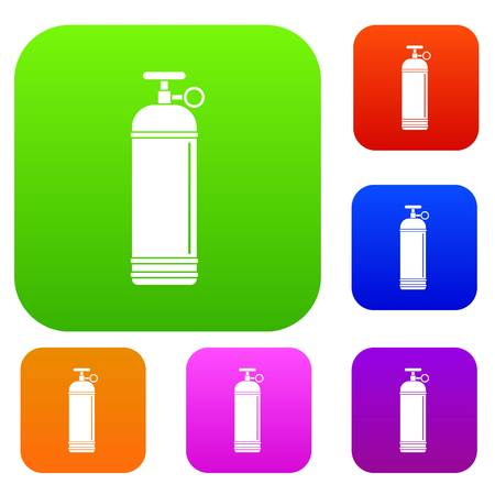 bottled: Compressed gas container set icon color in flat style isolated on white. Collection sings vector illustration
