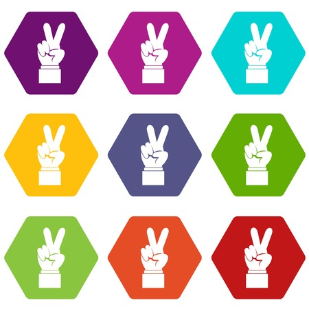 Hand with victory sign icon set many color hexahedron isolated on white vector illustration Illustration