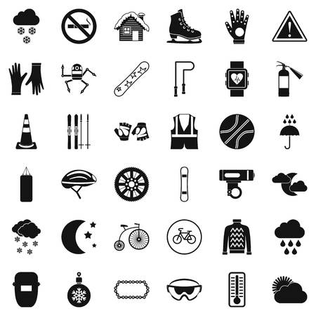 Welding mask icons set. Simple style of 36 welding mask vector icons for web isolated on white background Ilustração